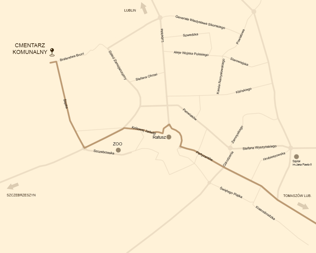 dojazd autobusem linii 7 do Cmentarza Komunalnego w Zamościu